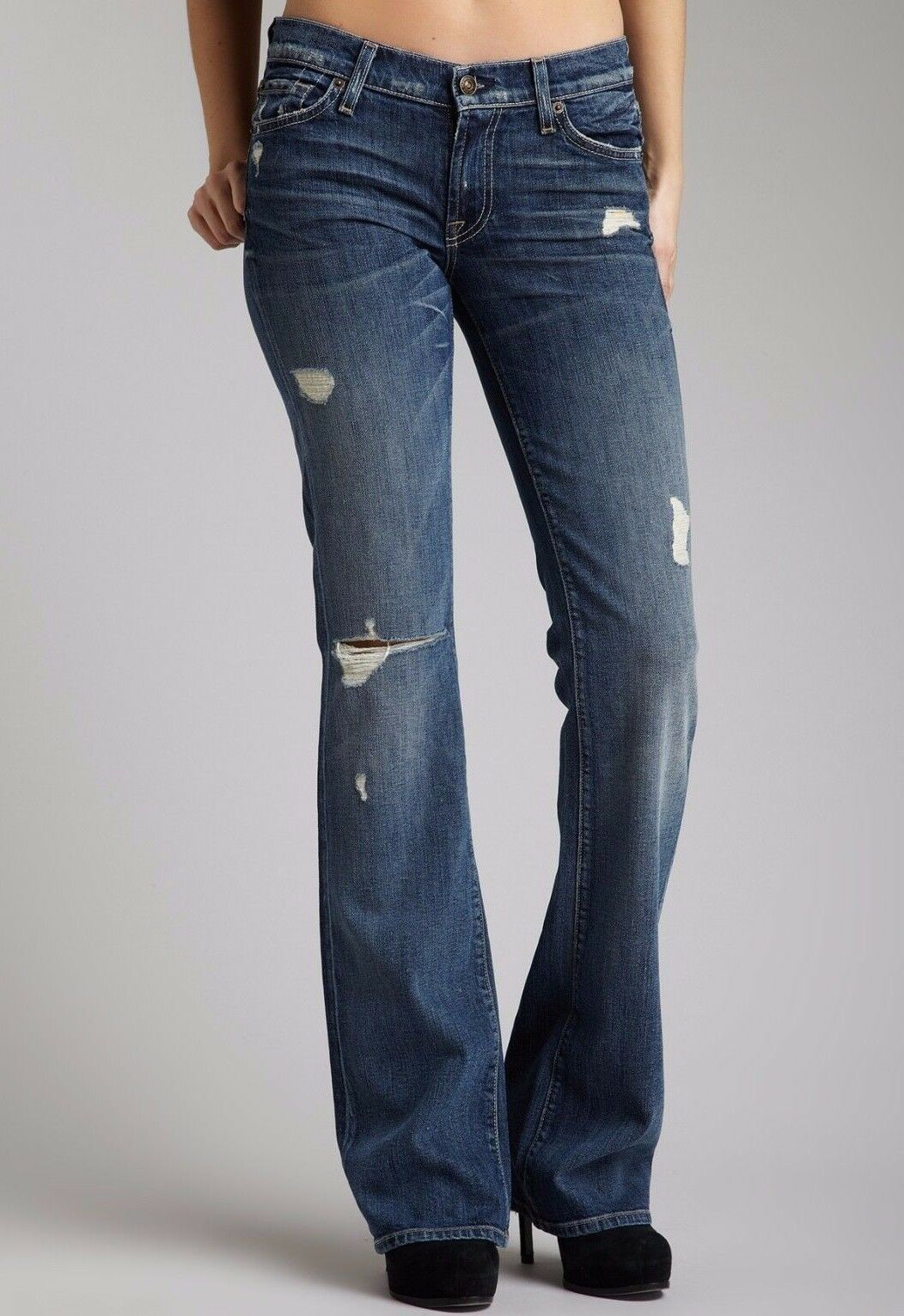 NWT 7 FOR ALL MANKIND Sz28 BOOTCUT MIDRISE STRETCH JEANS DISTRESSED VINTAGE CAL