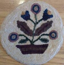 Beginner primitive rug hooking kit, hook, hooked, little flower pot, linen, wool