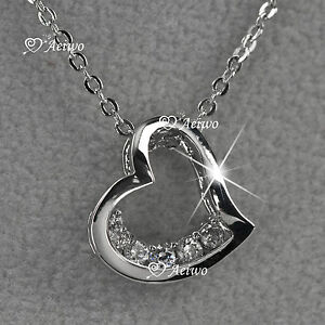 18k White Gold Gf Clear Crystal Love Heart Pendant Necklace Small Cute Ebay