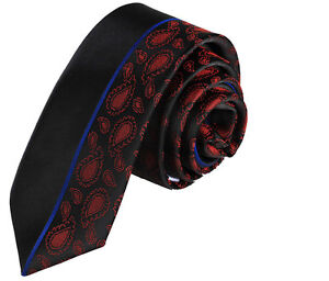 NEW ITALIAN DESIGNER SLIM BLACK  DARK RED PAISLEY SILK TIE - Teesside, United Kingdom - Items must be returned within 7 days. Most purchases from business sellers are protected by the Consumer Contract Regulations 2013 which give you the right to cancel the purchase within 14 days after the day you receive the item - Teesside, United Kingdom