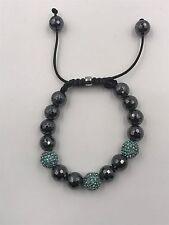10mm Shamballa Beaded Adjustable Bracelet Turquoise & Hematite Hand Set Crystals