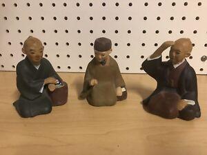 Lot-of-3-Vtg-Japanese-Hakata-Urasaki-Washable-Doll-Clay-Mud-Man-3-5-034-Tall