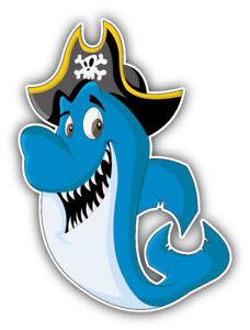 "Funny Shark Pirate Car Bumper Sticker Decal /""SIZES/'/'"