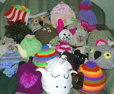 Hand Knitted Cubre Tetera Cosies Crochet llama Abeja Cottage Búho Unicornio Cat Alpaca