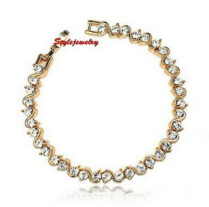 Rose-Gold-Filled-Clear-Diamond-Tennis-Bracelet-Made-With-Swarovski-Crystal-T9