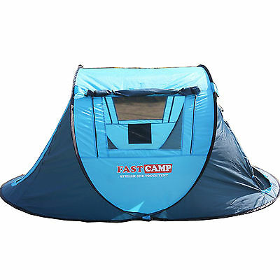 Camping Tent Picnic For 2-3 person Waterproof Blue Outdoor Hiking 2sec to pitch