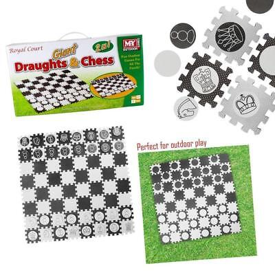 Giant Draughts and Chess Outdoor Garden Patio Lawn Games Party BBQ Family Kids