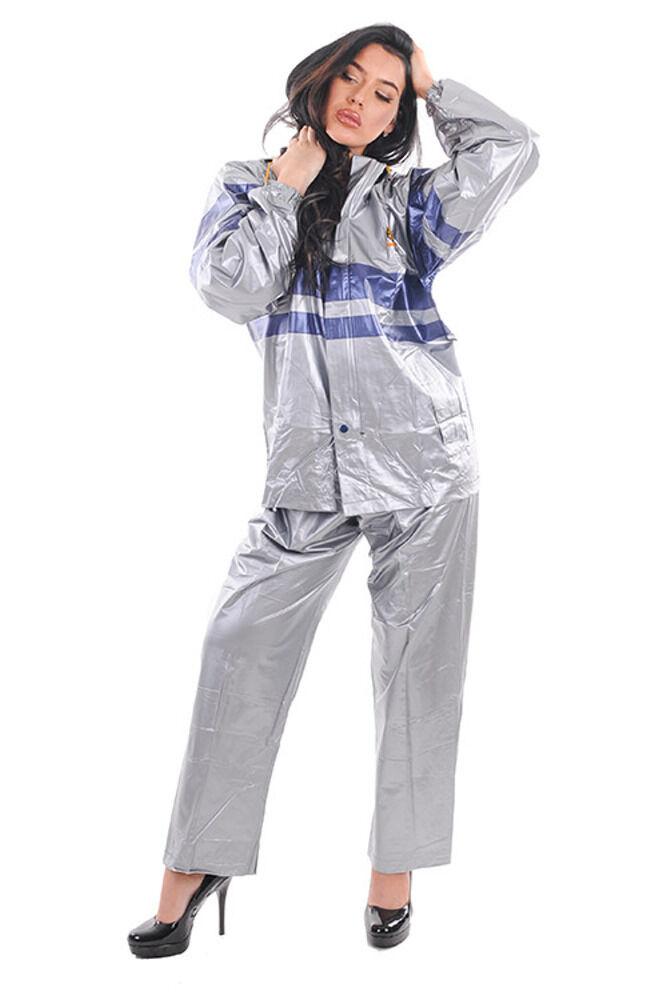 PVC Giacca da Pioggia  Pantaloni argentoo Erl L