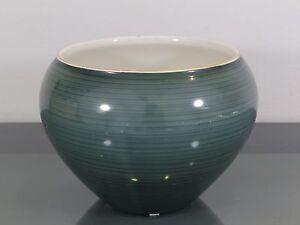 Vase, KPM, Berlin, Porzellan, grün mit Streifen, Art Deco
