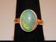 10.04 tcw Large Welo OPAL Art Deco Bezel Set Designer Ring Diamond 18k YG