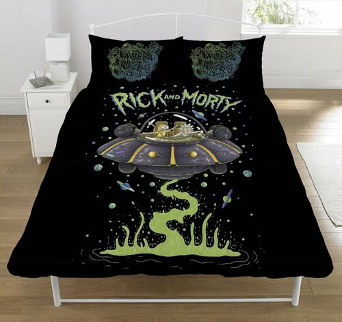 DOUBLE BED DUVET COVER SET RICK AND MORTY UFO SPACE SHIP BLACK REVERSIBLE SET