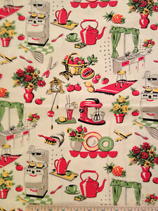 Image Is Loading Retro Vintage Kitchen Fifties Btyx44 034 Cotton Fabric
