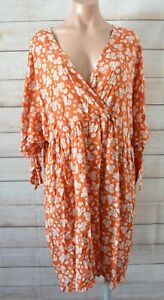 ASOS-Fit-Flare-Dress-Size-20-Orange-Brown-White-Blue-Floral-Tie-Sleeves