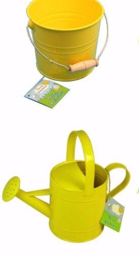 """Enfants /""""Arrosoir Seau et jaune en métal graines pots et balises jeune jardinier"""