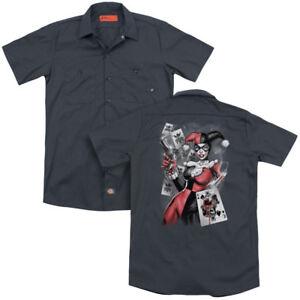 Batman Harley Quinn SMOKING GUN Bullet Hole Adult Dickies Work Shirt All Sizes