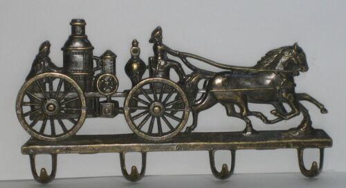 alte Feuerwehr Pferdekutsche Schlüsselhaken Wandhaken Schlüssebrett Messing 22cm
