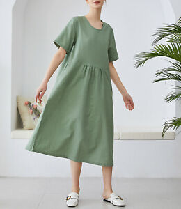 Meomua Lino Algodón Vestido De Mujer Suelto Manga Corta Tallas Grandes Vestido De Lino Ebay