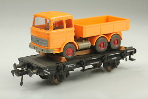 H0-Fleischmann-5219-beau-Chariot-a-plate-forme-avec-MB-Camion-DB-942-0-622-1-ovpmangel