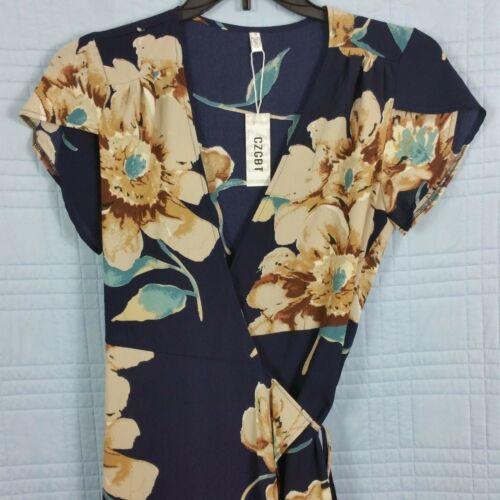 CZGBT Womens Small Navy Floral Long Wrap Maxi Dress Short Sleeve NEW