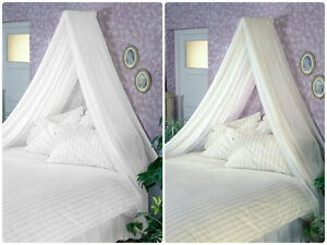 Image is loading Adult-BED-CANOPY-inc-VOILE-&-Wall-Rod- & Adult BED CANOPY inc VOILE u0026 Wall Rod Kit WHITE CREAM fits Single ...