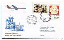 FFC 1967 Swissair Club First Flight Bukarest Zurich Schweiz Posta Romana