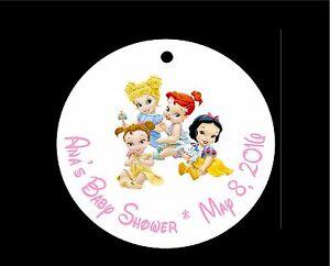 10 disney princess baby shower favor tags cinderella belle ariel snow