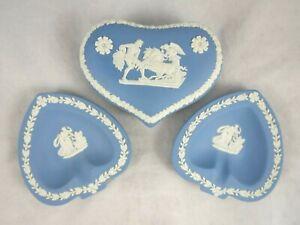 Wedgwood-Blue-Jasperware-Heart-Trinket-Box-Ashtrays-Ulysses-Cupid-Psyche-3-Set