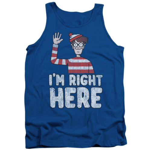 Where/'s Waldo Picture I/'M RIGHT HERE Licensed Adult Tank Top All Sizes