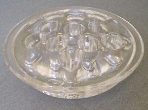 Vintage Clear Glass Flower Frog Stem Holder 11 Holes Floral Arranging Tool 3 5 Ebay
