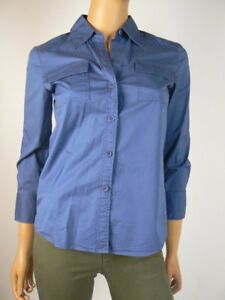 66b22681 $245 Theory Tenia Sapphire Blue Vneck Button Down Blouse Top P XS 0 ...