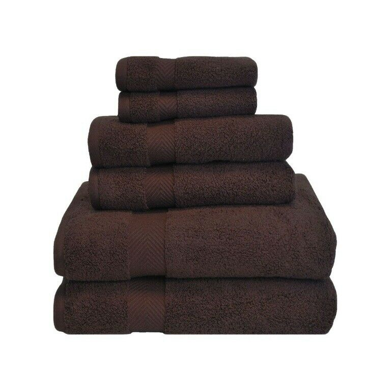 6-pc Expresso braun Zero Twist Twist Twist Soft Absorbent Towel, Hand Towel, Washcloth Set 6ef4b9