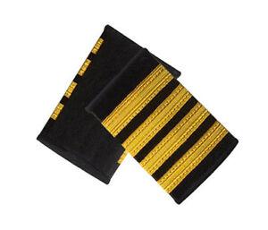 267dbc8eeb3 Details about Captain Epaulets - 4 Bar - Black with Four Gold Stripes  Airlines Uniform Costume