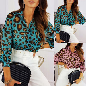 Women-039-s-Long-Sleeve-Casual-Down-Blouse-Loose-Tops-Ladies-Leopard-Button-Shirt