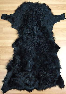 Läufer Lammfell Toscana Felle Pelz 83cm Teppich Überwurf Vorleger Black Schwarz