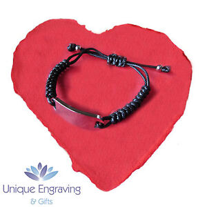676b6226e5801 Details about Personalised Engraved Rope ID Bracelet Free Engraving -  Valentine's Gift Idea!