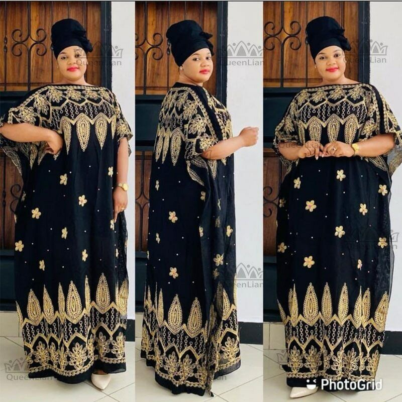 Embroidered cotton Chiffon Long Dashiki Dress With Scarf For Lady