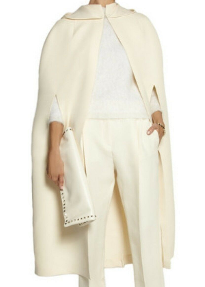 VALENTINO Hooded Wool And Silk-blend Cape SIZE US10