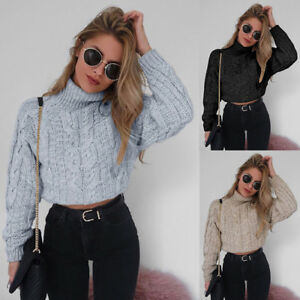 Womens-Chunky-Knitted-Sweater-Cropped-Tops-Pullover-High-Neck-Long-Sleeve-Jumper
