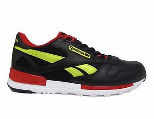 f722ca45a76 Reebok Men s CLASSIC LEATHER 2.0 Shoes Black Hypergreen Scarlet ...
