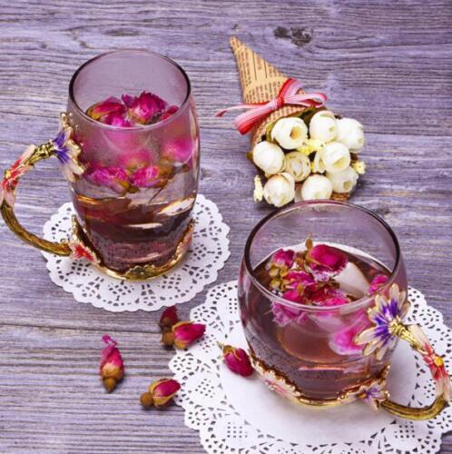 Baroque Color Enamel Glass Daisy Tea Cup Mug Flower Wedding Christmas Gifts