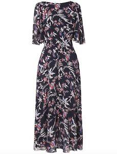 BNWOT-L-K-Bennett-Delina-100-Silk-Print-Midi-Dress-blue-pink-size-10-38-249