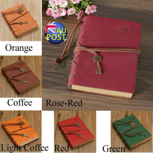 Retro Classic Leather Bound Blank Pages Journal Diary Notebook Sketchbook AU