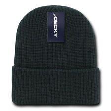 Solid Black Watch Cap Beanie Knit Winter Stocking Hat Stretch Snowmobile Decky