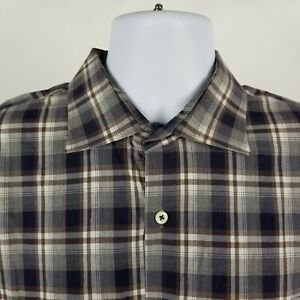 Peter-Millar-Mens-Brown-Blue-Windowpane-Check-Plaid-Dress-Button-Shirt-Sz-XL