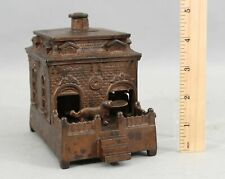 Antique 19thC Judd Cast Iron Dog on Turntable Mechanical Building Bank NR