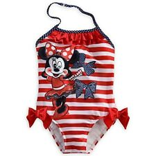 DISNEY STORE MINNIE MOUSE ONE-PIECE SWIMSUIT NWT GIRLS SIZE 2 RED STRIPED