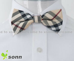 New-Yellow-Checkers-Plaid-Mens-Pre-tied-Tuxedo-Wedding-Polyester-Bow-Tie-BO017