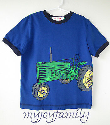 HANNA ANDERSSON Art Tee Shirt Blue Sea Green Tractor 130 8 NWT