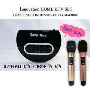 EVASING Wireless WiFi KTV Karaoke Mikrofon Airplay Miracast Geschenk (schwarz 2mic)