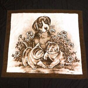 Biederlack-Puppy-amp-Kittens-Fleece-Throw-Blanket-Brown-47-034-x-54-034